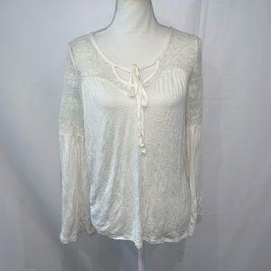 American Rag ivory boho lace bell sleeve shirt